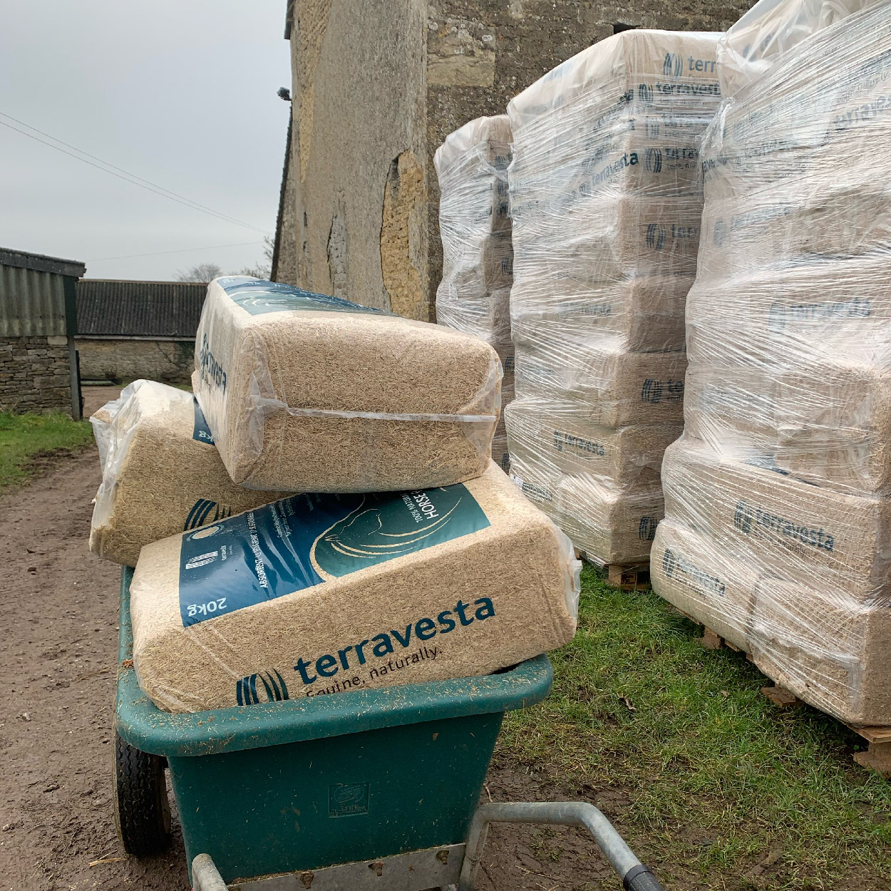 Miscanthus horse bedding ready to take to the stable
